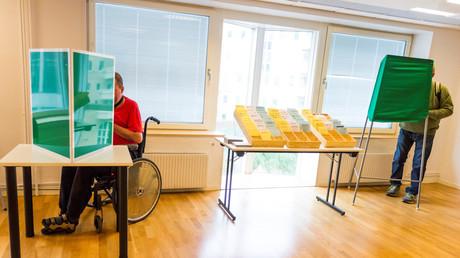 Wähler in Stockholm, Schweden, 23. August 2018