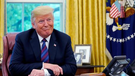 US-Präsident Donald Trump zeigt sich zufrieden darüber, ein neues Handelsabkommen mit Mexiko verkünden zu können, Washington, 27. August