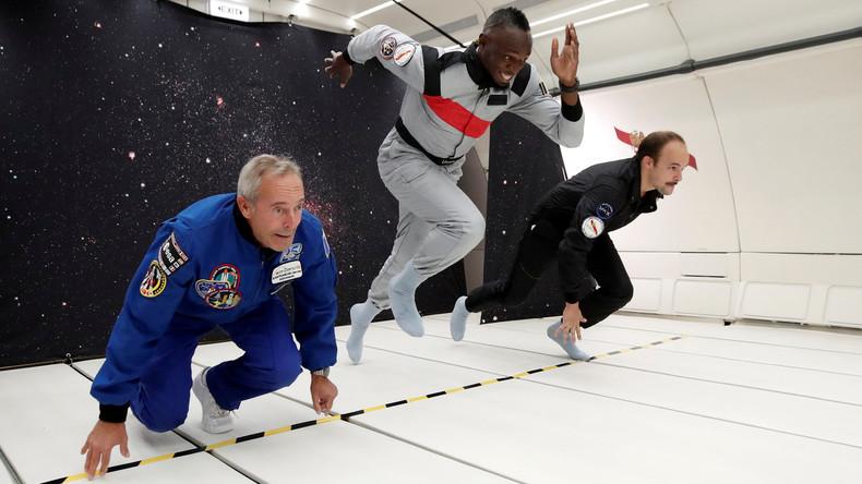 Jamaikaner Usain Bolt verteidigt den Titel des schnellsten Sprinters – nun auch in Schwerelosigkeit