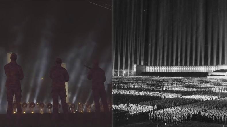 """Ukraine: Asow-Regiment feiert seine """"Helden"""" mit von Nazi-Propaganda inspiriertem Lichtdom"""