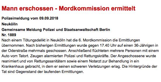 36-Jähriger in Berlin-Neukölln durch Schüsse getötet - Polizeiaufgebot vor Klinik