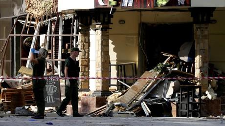 Das zerstörte Café im Zentrum von Donezk, in dem der Präsident der Donezker Volksrepublik und sein Leibwächter am 31. August gegen 17 Uhr durch einen Bombenanschlag getötet wurden.