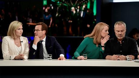 Parteiführer der schwedischen Allianz Ebba Busch Thor, Ulf Kristersson, Annie Lööf und Jan Björklund bei einem Fernsehauftritt in  Stockholm, Schweden, 9. September 2018.