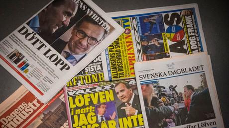 Titelseiten schwedischer Zeitungen nach den Parlamentswahlen, Stockholm, Schweden, 10. September 2018.