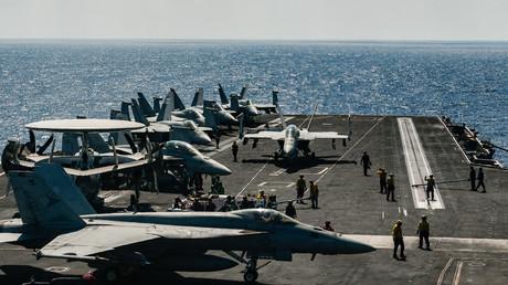 Der US-Flugzeugträger Harry S. Truman mit F18-Kampfflugzeugen im östlichen Mittelmeer, Mai 2018