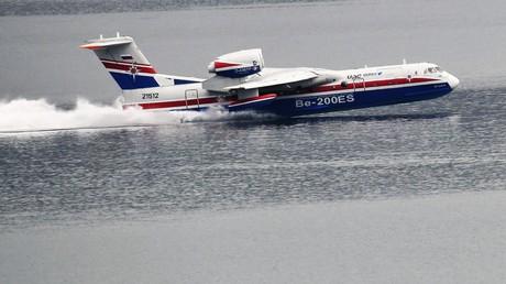 Der russische Amphibienflugzeug Be-200 während der Messe 'Hydroaviasalon-2018'  am 6. September 2018.