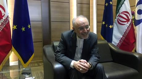 Der Leiter der iranischen Atomenergiebehörde, Ali Akbar Salehi, nach Gesprächen mit dem europäischen Beauftragten für Energie und Klima, Miguel Arias Canete, Teheran, Iran, 19. Mai 2018.
