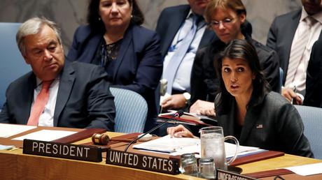 Die US-Gesandte bei den Vereinten Nationen, Nikki Haley, leitet am 10. September 2018 eine Sitzung des Sicherheitsrates der Vereinten Nationen. Für Monat September haben die USA die Präsidentschaft des Gremiums.