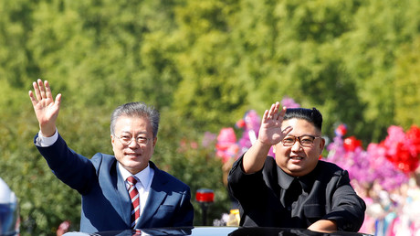 Moon Jae-in und Kim Jong-un in Pjöngjang, Nordkorea, 18. September 2018.