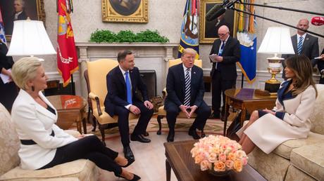Präsidenten der USA und Polen bei ihrem Treffen im Oval Office zusammen mit ihren Ehefrauen am 18. September.