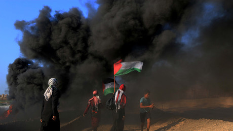 Palästinenser demonstrieren nach Zusammenstößen mit israelischen Streitkräften gegen die israelische Blockade an der Seegrenze mit Israel  im nördlichen Gazastreifen, 17. September 2018.