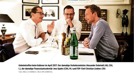 Sie haben noch viel vor: Spahn mit seinen Verbündeten Alexander Dobrindt und Christian Lindner. Das Treffen war so geheim, dass ein Bild davon in der BamS landete.