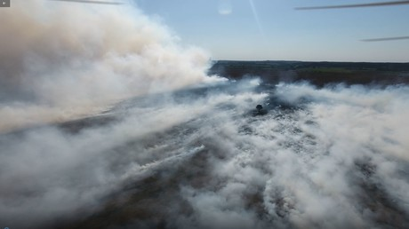 Drohnenaufnahmen der WTD 91 vom Moorbrand in dieser Woche