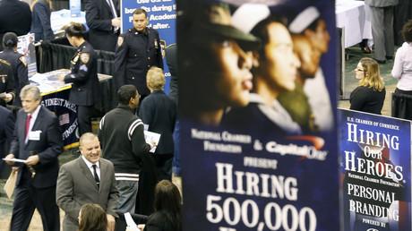 Werbung für die US-Armee auf einer Jobmesse in New York, USA, 27. März 2013.