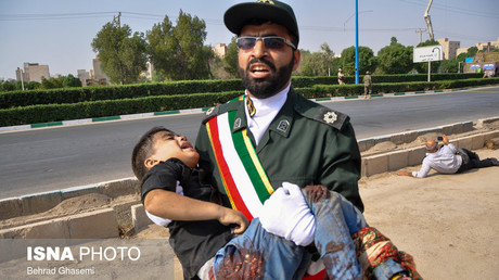 Verletztes Kind nach dem Angriff auf die Militärparade, Ahwaz, Iran, 22. September 2018.