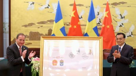 Chinesischer Premier Li Keqiang mit dem schwedischen Premier Stefan Löfven, zelebrieren 65 Jahre schwedisch-chinesische Beziehungen, Peking, Schweden, 27. März 2015.