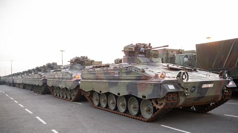 Kampfpanzer der Bundeswehr treffen zu größtem NATO-Manöver seit Ende des Kalten Krieges ein