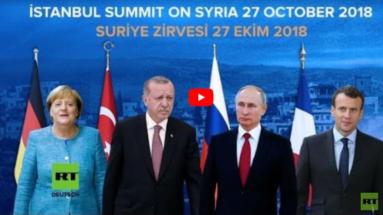 LIVE Macron Merkel und Putin treffen sich mit Erdoğan in Istanbul zu Syrien-Quartett
