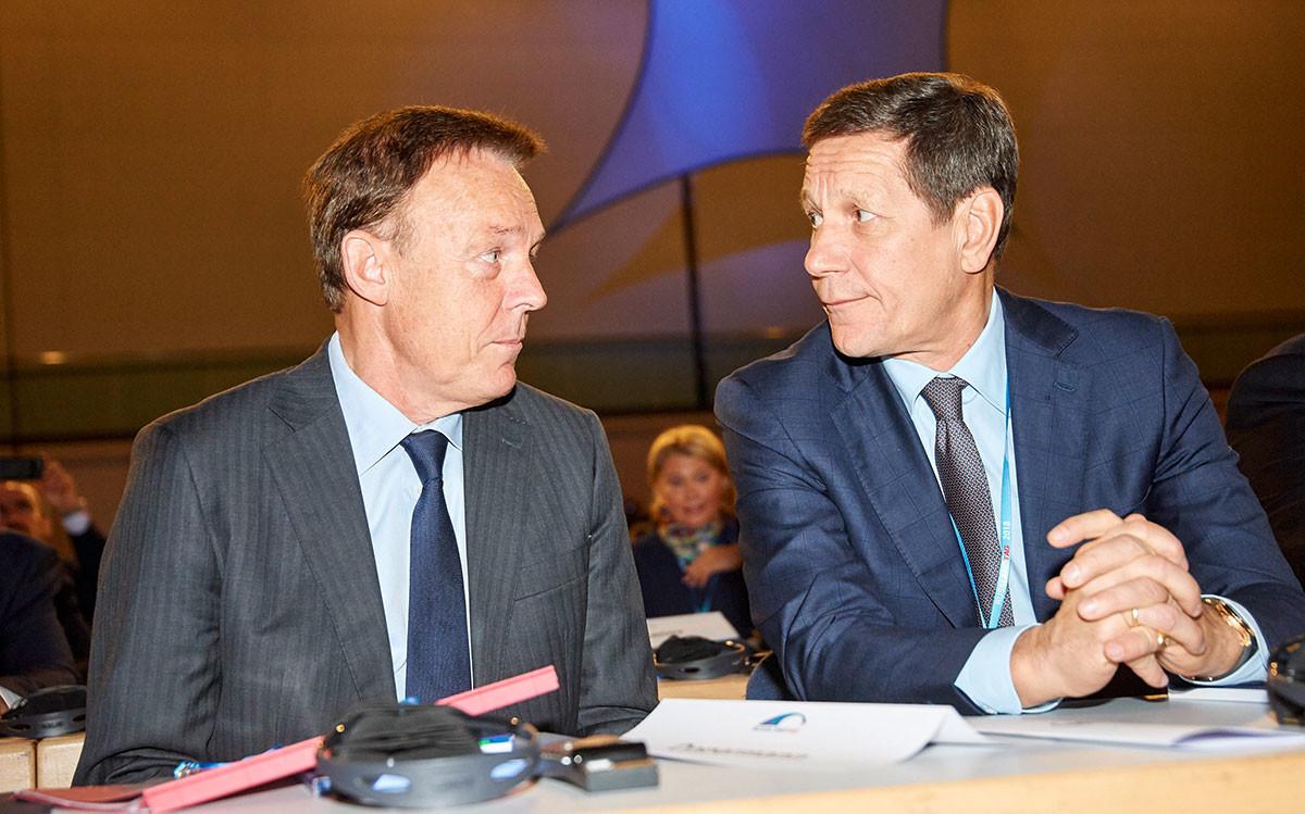 Der Vizepräsident des Deutschen Bundestages Thomas Oppermann und der Erste Stellvertreter der Duma der Russischen Föderation Aleksander Schukow.