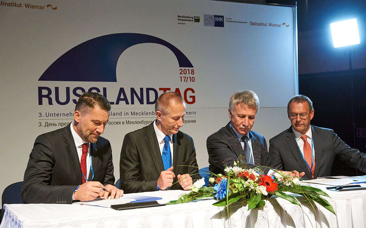 Unterzeichnung der Kooperationsvereinbarung von Rostock Port mit der Rostock LNG GmbH, einem russisch-belgischen Joint Venture