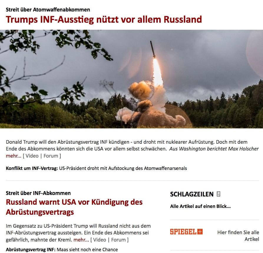 Trumps Kündigung des INF-Vertrags und der Nutzen der Russen – oder: Die Logik von Spiegel Online