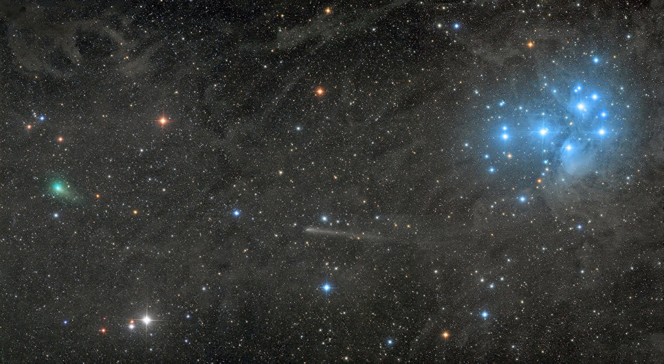 Two comets with the Pleiades