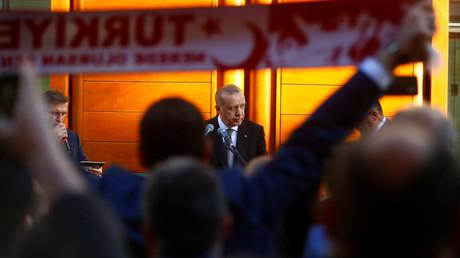 Der türkische Präsident Recep Tayyip Erdoğan bei einer Eröffnungsrede in der Zentralmoschee in Köln, Deutschland, 29. September 2018.