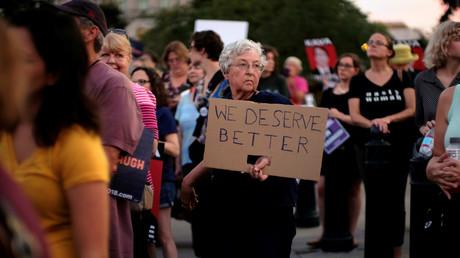 Vor allem Frauen protestieren in die USA gegen die Berufung Brett Kavanaughs zum Richter des Obersten Gerichtshofs.