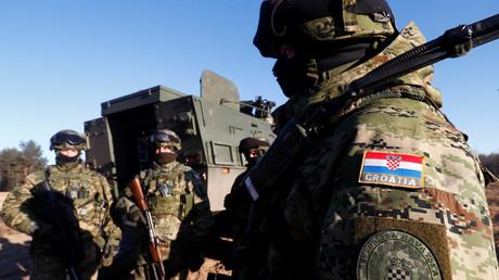 Als Teil einer NATO-Truppe in Litauen stationierte kroatische Soldaten.