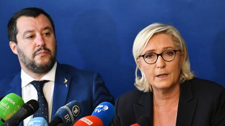 Salvini und Le Pen bei ihrer Pressekonferenz am Montag in Rom