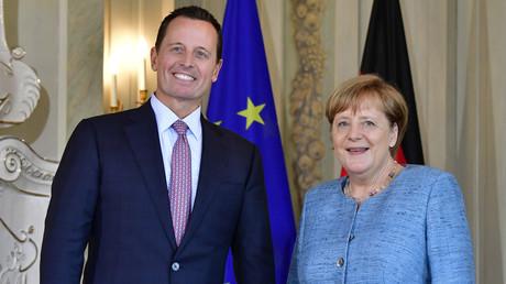US-Botschafter Richard Grenell wird von Bundeskanzlerin Angela Merkel auf Schloss Meseberg am 6. Juli 2018 empfangen.