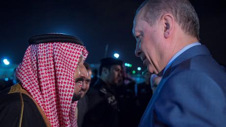 Der saudische König Salman mit dem türkischen Präsidenten Erdoğan, Riad, Saudi-Arabien, 13. Februar 2017.