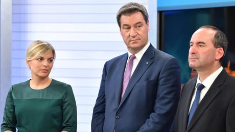 Die Spitzenkandidatin der Grünen Katharina Schulze,  Bayerns Ministerpräsident Markus Söder und Hubert Aiwanger von den Freien Wählern, beim Fernsehinterview in München, Deutschland, 14. Oktober 2018.