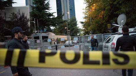 Der Eingang zum saudiarabischen Konsulat in Istanbul.