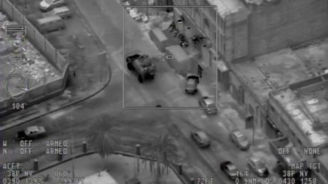 Screenshot einer Drohenaufnahme von der Operation zur Tötung des Kopfes von al-Islah