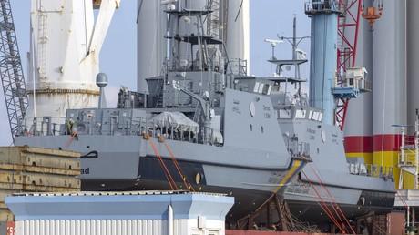 Zwei Patrouillenboote, die in Deutschland für Saudi-Arabien hergestellt wurden. September 2018.