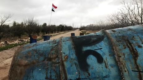 Eine verlassene Blockstelle in der syrischen Provinz Kuteira nahe der israelischen Grenze, Februar 2018