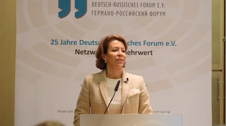 Veronika Kraschenninikowa während ihres Vortrags auf dem Deutsch-Russischen Forum.