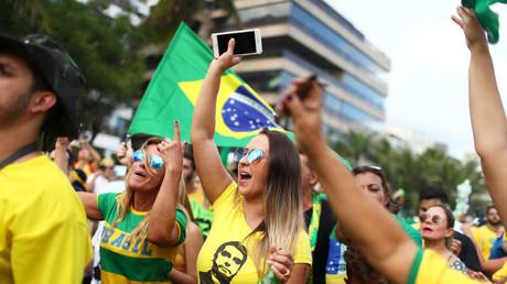 Unterstützer von Bolsonaro, in Rio de Janeiro, Brasilien, 28. Oktober 2018