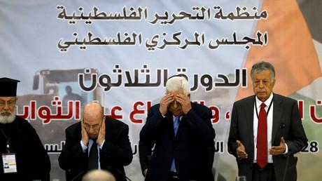 Der Palästinenserpräsident Mahmoud Abbas beim Gebet Ramallah, Treffen des PLO-Zentralrats, Westjordanland, 28. Oktober 2018.