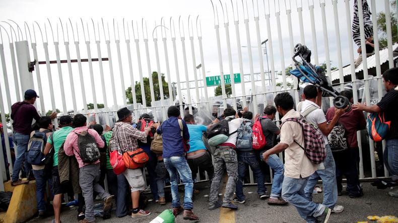 """""""Wir betrachten das als Schusswaffe"""" – Trump droht, Steine werfende Migranten erschießen zu lassen"""