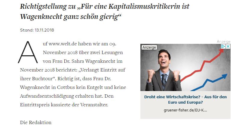 """""""Ganz schön gierig"""": 'Die Welt' will Sahra Wagenknecht diffamieren und blamiert sich böse"""