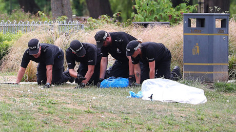 Salisbury: Polizisten suchen den Rasen im Queen Elizabeth Gardens-Park ab. (19. Juli)