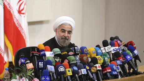 Der iranische Präsident Hassan Rohani bei einer Pressekonferenz in Teheran, Iran, 17. Juni 2018.