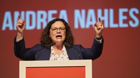 (Archivfoto) SPD-Parteivorsitzende Andrea Nahles beim Landesparteitag Rheinland-Pfalz am 20.10.2018 in Ochtendung.