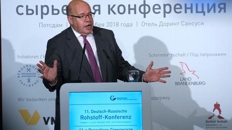 Der Bundeswirtschaftsminister Peter Altmaier tritt vor dem Deutsch-Russischen Rohstoff-Forum am 7. November in Potsdam auf.