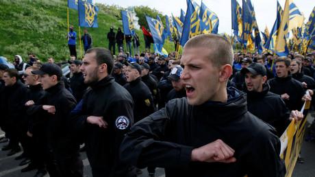(Archivbild). Mitglieder des Bataillons Asow des ukrainischen Innenministeriums in Kiew  am 20. Mai 2016