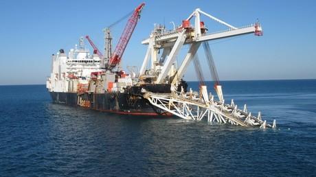 Die Verlegung der ersten Leitung der Gas-Pipeline Turkish-Stream.