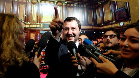 Innenminister Matteo Salvini am 6. November 2018  im Senat in Rom bei einem Gespräch mit Vertretern der Medien