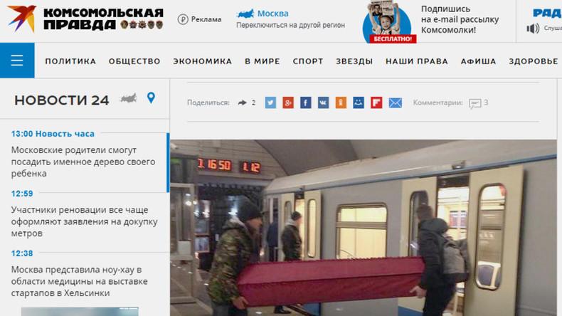 Zwei Männer transportieren Sarg in Moskauer U-Bahn - Mitfahrer wenig entzückt